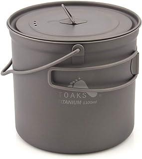 TOAKS Titanium Pot with Hang Foldable Handle for Outdoor Camping Cookware Picnic Hang Pot Ultralight 750ml 1100ml 1300ml 1600ml 2000ml