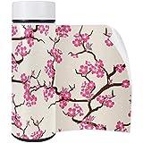 Sakura - Termo (acero inoxidable, 350 ml), diseño de ramas y grullas japonesas...