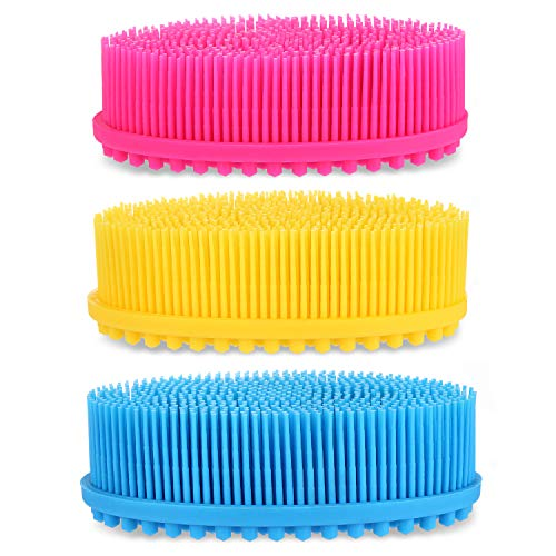 3Pack Silicone Body Scrubber Easy to Clean, Lathers Well, Eco Friendly, Long Lasting, And More Hygienic Than Traditional Loofah For Shower Brush Dry Skin Circulation SPA,Travel.
