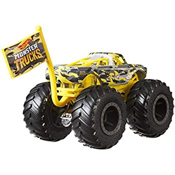 Hot Wheels Monster Trucks Pure Muscle Camo Crashers 4/5 with Collectible Flag