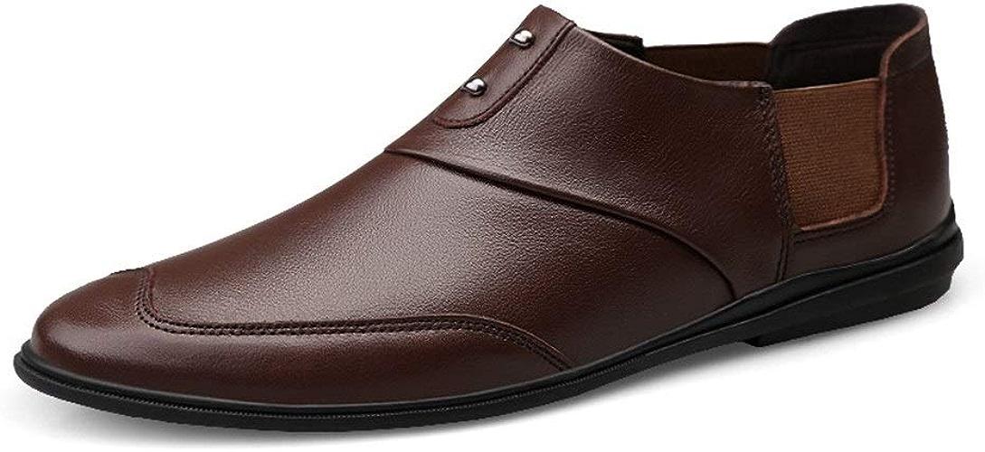GLSHI Hommes Majestueux Chaussures Slip on Leather Troll Toe Chaussures Oxford Légères en Cordon élastique SHINIK