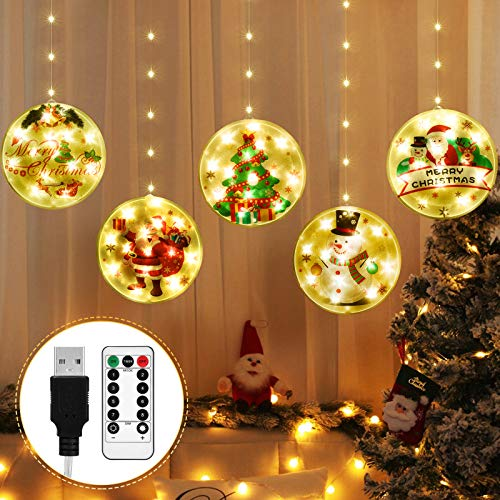 Christmas String Lights, Christmas Window Lights 8 Flash Modes 2 Charging Modes Remote Control Tree LED 3D Decorations Hanging Lights for Christmas Indoor Outdoor Holiday Decor