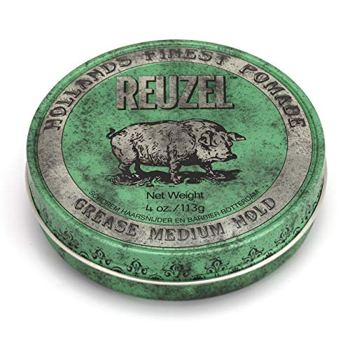 REUZEL Green Pomade Grease, Medium Hold, 4 oz.