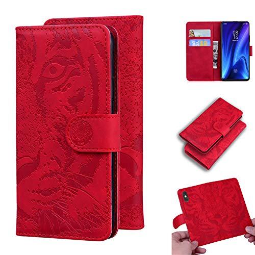 Snow Color Xiaomi Mi 9T/Redmi K20 Hülle, Premium Leder Tasche Flip Wallet Case [Standfunktion] [Kartenfächern] PU-Leder Schutzhülle Brieftasche Handyhülle für Xiaomi Mi9T Pro - COTX020748 Rot