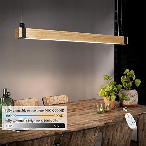 Lampada a sospensione a LED ZMH lampada a sospensione in legno retrò 100 cm 19 W dimmerabile con lampada da ufficio regolabile in altezza con telecomando per sala da pranzo studio soggiorno ecc.