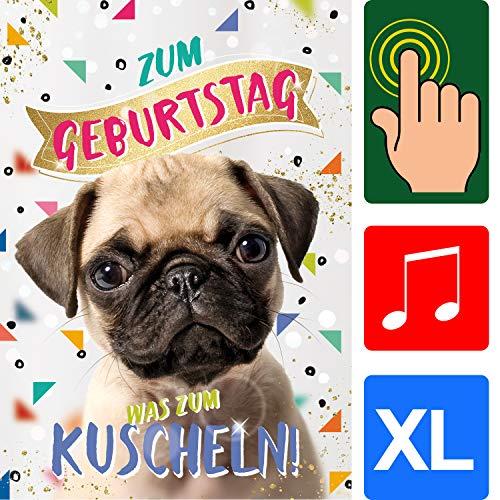 bentino Geburtstagskarte XL mit Kunstfell zum STREICHELN, DIN A4 Set mit Umschlag, bei jedem Streicheln hörst Du ein Hunde-Bellen, Glückwunschkarte mit Sound, hochwertige Grußkarte