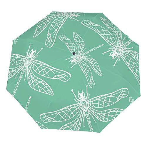 Manueller Regenschirm, kompakt, leicht, Wasserfarben, weiße Libelle, türkiser Hintergrund, sonnenfest, Vinyl innen
