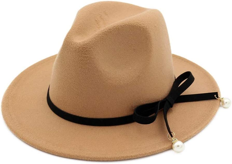 HXGAZXJQ Unisex Men Women Wool Fedora Hat with Bowknot Elegant Lady Party Fascinator Hat Size 56-58CM (Color : Khahi, Size : 56-58)