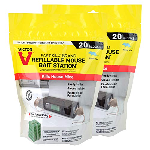 Victor M923-2 Fast-Kill Brand Refillable Mouse Poison Bait Station – 2 Stations, 40 Baits