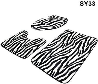 Delisouls Juego de 3 alfombras de baño, alfombrillas antideslizantes para pedestal y tapa, fundas para inodoro y alfombrilla