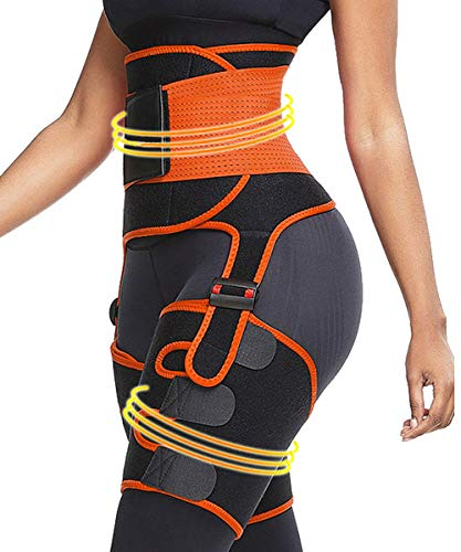 3 in 1 Waist Trainer and Thigh Trimmer for Women Double Compression Belt Leg Support Sweat Sauna Effect Body Shaper Orange Small/Medium