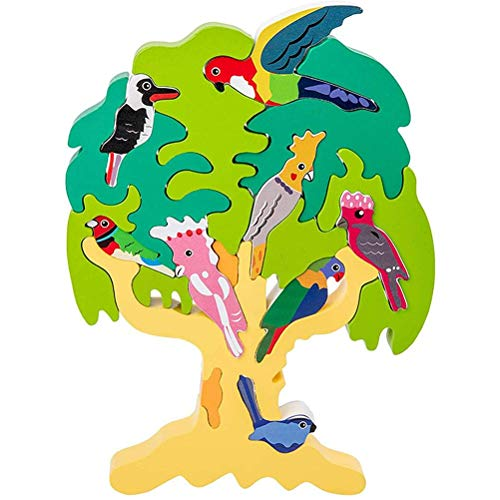 Mify Wooden Tree Jigsaws Puzzles DIY 3D Stacking Puzzle Blocks Bird Tree Toys Children Balance Educational Toys