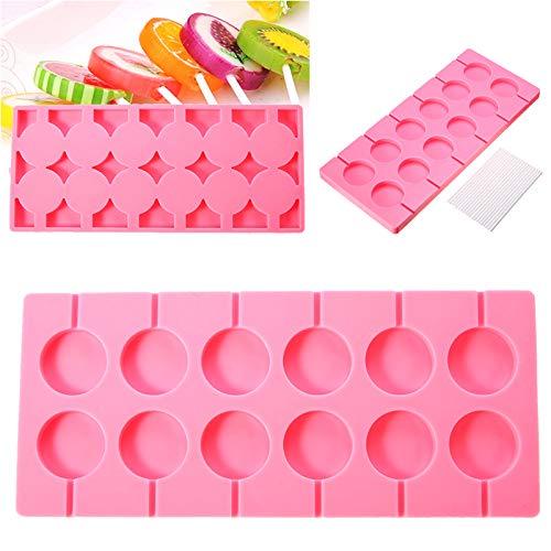 Silikon-Lutscher-Form-runde Behälter-Gelee-Süßigkeits-Eiswürfel-Schokoladen-Plätzchen Lollypop-Backform + 100 Stock-Rosa
