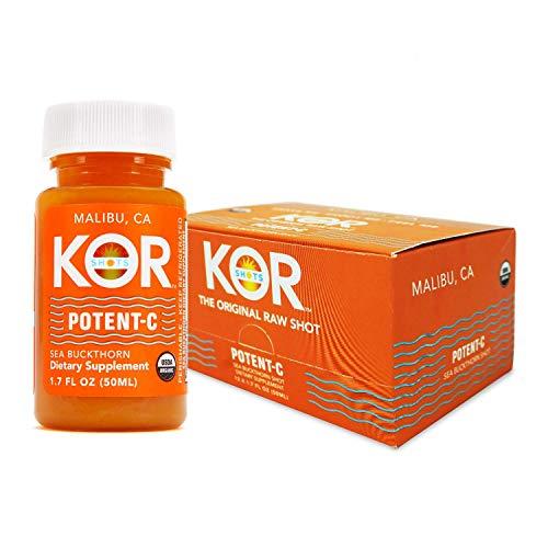 KOR Shots Sea Buckthorn and Baobab Shot - 12 Pack x 1.7 Fl Oz - Potent C - Superfoods Vitamin C Shot - USDA Certified Organic