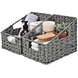 GRANNY SAYS Wicker Baskets with Handles, Set of 2 Woven...