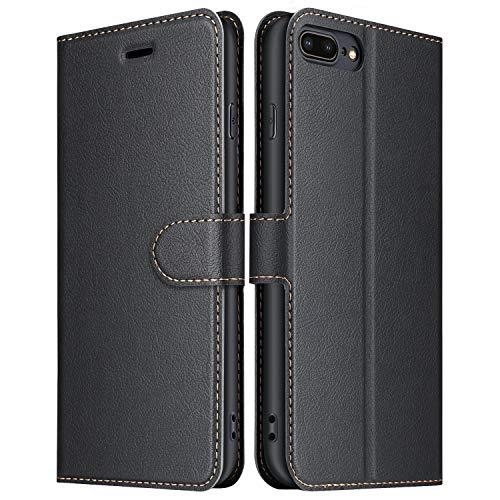 ELESNOW Funda iPhone 7 Plus, Funda iPhone 8 Plus, Cuero Premium Flip Folio Carcasa Case para Apple iPhone 7 Plus/iPhone 8 Plus (Negro)