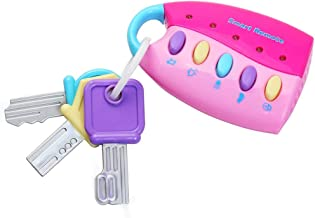 Teaffiddyy Musical Car Key Keychain Toy Pink Remote Car Voices Kids Pretend Play Education Toy, Funky Toy Keys for Toddlers and Babies