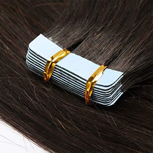 TESS Tape Extensions Echthaar Dunkelbraun #2 Klebeband Haarteile Tape in Haarverlängerung Remy Human Hair Extensions Glatt 10 Stück 14