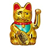 Relaxdays Maneki-Neko Chat Chinois Porte-Bonheur 16 cm Asie Chine Japon Thailande, Or doré