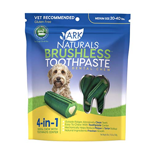 Ark Naturals Brushless Toothpaste, Dog Dental Chews for Medium Breeds, Vet Recommended for Plaque, Bacteria & Tartar Control, 1 Pack