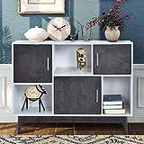 Cómoda con puertas y estantes, armario de cocina, mesita de noche, 100/35/77 cm, armario multiusos para salón, dormitorio, pasillo, cocina