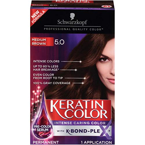 Schwarzkopf Keratin color permanent hair color cream, 5.0 medium brown