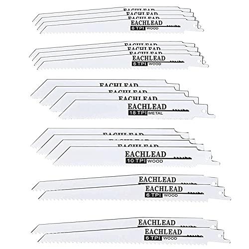 Shanqian - 20 cuchillas de sierra profesional de plástico, madera y metal, 6 TPI, 6 TPI, 18 TPI, 10 PTI, compatible con las marcas más comunes del mercado