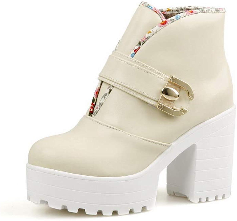 BalaMasa Womens Chunky Heels Platform Assorted colors Urethane Boots ABL11019