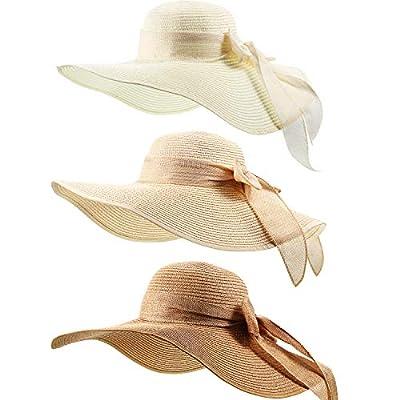 3 Pieces Women Big Bowknot Straw Hat Foldable C...