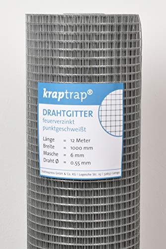 kraptrap® Volierendraht, Drahtgitter, 6x6 mm Masche, Mäusegitter, Gitterdraht (12m x 1m)
