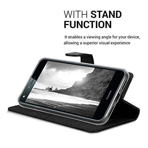 kwmobile Huawei Y6 II Compact (2016) Hülle - Kunstleder Wallet Case für Huawei Y6 II Compact (2016) mit Kartenfächern und Stand - Anthrazit Schwarz - 6