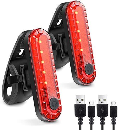 La luz posterior de la bici Potente USB LED recargable, batería de litio 330mAh, super luminoso luces traseras de bicicletas, bicicletas Volver linterna de la luz de seguridad de ciclo, a prueba de ag