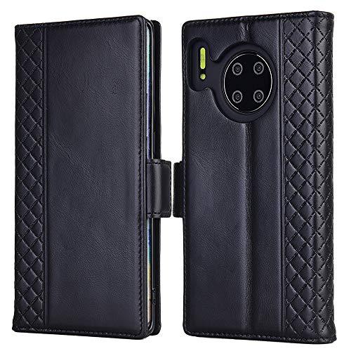 Huawei Mate 30 Pro Hülle, Echt Leder hülle mit Kartenfach Standhülle Flip Schutzhülle, Brieftasche Wallet Handyhülle für Huawei Mate 30 Pro (Schwarz)