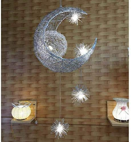HGDH Bedroom Living Room lamp Star Moon Chandelier Personality Creative Restaurant Bar Simple Modern Cartoon Art Children's Room Bedroom Chandelier
