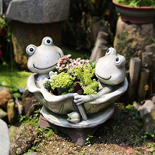 Creative Rural Garden Resin Flower Pots Yoga Frog Design Plant Pot Outdoor Figure Decor,SwimmingFrog for Outdoor Decoration