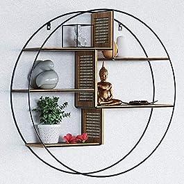 Laxllent Étagère Murale Double en Bois et Métal, avec 5 Tablettes en Bois Naturel,φ60xH15cm, pour Chambre, Cuisine…