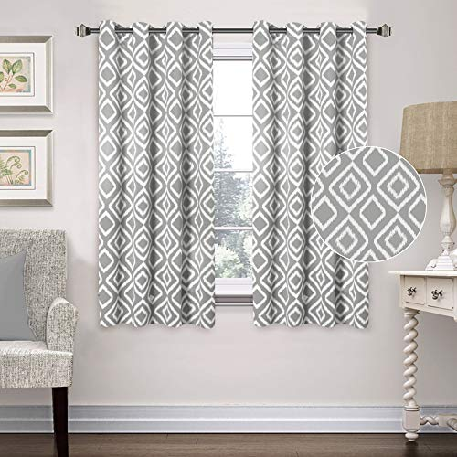 Flamingo P Blackout Curtains for Bedroom Kids Room, Gray Ikat Fret Pattern Home Decoration Drapes, Privacy Protection Thermal Insulated Grommet Curtain Pair Set (52' x 63', 2 Panel, Gray)