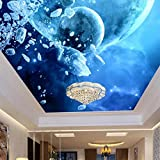 Mural Wallpaper Customize 4D Wall Decoration,Fantasy Starry Sky Milky Way Planet Top Frescoes Large Silk Mural Hd Print Art Wall Painting Picture Poster For Fashion Home Decor Wall Papers,200Cm(W)X193