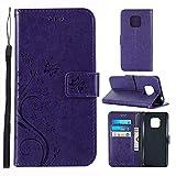 XYAL0002001 Xingyue Aile Covers y Fundas para Samsung Note 9, Funda de Cuero Telero de la Cartera de la Funda para Galaxy S20 Ultra S20 Plus A01 A21 (Color : Purple Butterfl, Material : S20 Ultra)