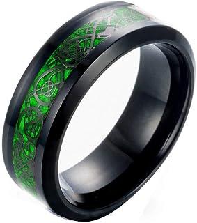 خاتم مجوف من ستيل التيتانيوم الصلب للرجال من مينز رينغ، 8 ملم - اسود