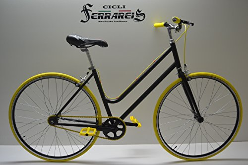 Cicli Ferrareis Fixed da Donna 28 Single Speed Bici Scatto Fisso Nera Gialla Personalizzabile