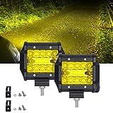 作業灯 フォグランプ 4インチ 角形 イエロー SAMLIGHT 60W LED ワークライト 12V-24V対応 汎用 車外灯 補助 農業機械 2個セット 一年保証 …