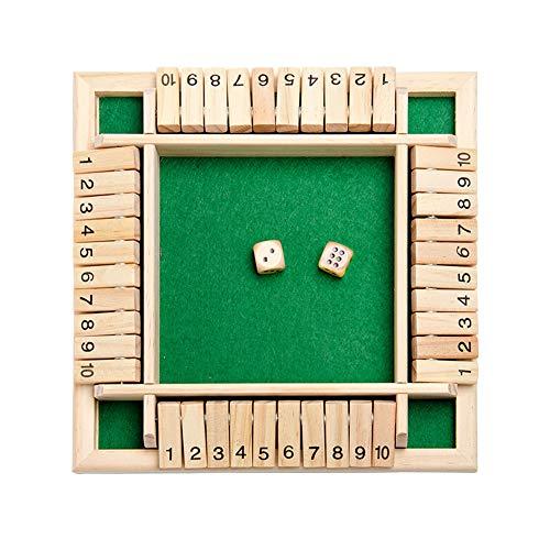 Matedepreso 4-Way Shut The Box Jeu de dés à 4 Faces en Bois Jeu de société en Bois Jeu de règles Jeu Intelligent Jouet éducatif pour Enfants Adultes