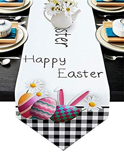 VJRQM Chemin de Table Long Happy Easter Bunny Oeufs de Lapin Buffalo Plaid Toile de Jute Chemin de Table 90 Pouces de Long pour Le dîner de fête d'anniversaire de Banquet de Vacances de Ferme