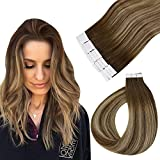 Easyouth Tape Extensions Human Hair 16Pulgadas 80g Marrón Roots Color 4/27/4 Mezcla Marrón con Honey Blonde Extensiones Adhesivas Tape de Cabello Humano Balayage