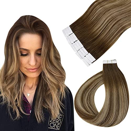 Easyouth Rajout Extensions Tape in Hair Extensions Couleur Middle Surlignage Brun à Miel Blond avec Brun Moyen Colle dans Les Extensions de Cheveux Humains 12pouces 40Pcs 60g