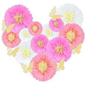 "18 Pieces 3D Paper Flowers Blush Pink White Gold Large Wall Decorations 12"" 10"" 8"" 5"" Pom Pom Giant Backdrop Photo Booth Baby Shower Decor Centerpiece Wedding Birthday Party Craft Art (Pack 1)"