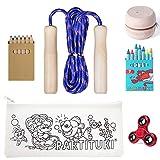 Partituki Pack Juegos Infantiles y para Colorear Incluye: Kit de 7 Ceras, Set de 6 Lápices, Comba de Saltar, Yoyo de Madera para Niños, Estuche para Colorear y Finger Spinner