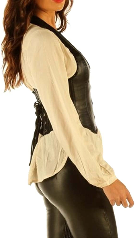 Leather Waistcoat Corset Tight Fit Steel Boned Waist Belt WC4