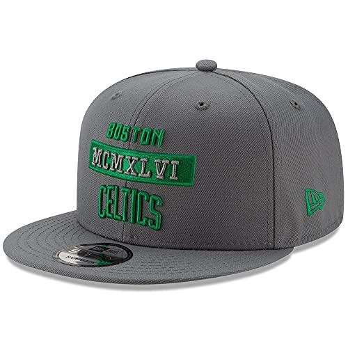 New Era Boston Celtics 9FIFTY Stack Snapback Hat, Adjustable Grey Cap
